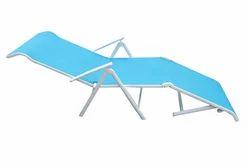 Folding Pool Lounger - Metal - Blue