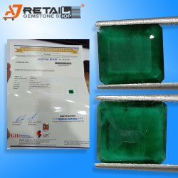 Octagone Shape Emerald Cut Emerald Panna Stone Certified by Gemological Laboratory of India