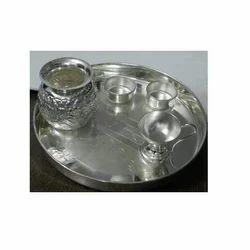 Bharat Handicrafts Pure German Silver Pooja Thali Set