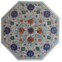 Marble Stone Inlaid Coffee Table Top Malachite And Lapiz