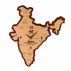 Offiworld Analog Wooden Wall Clock India Map, Size: 16 x 16 Inch