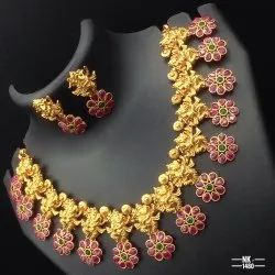 Matte Finish Temple Jewellery Set - NK 1480