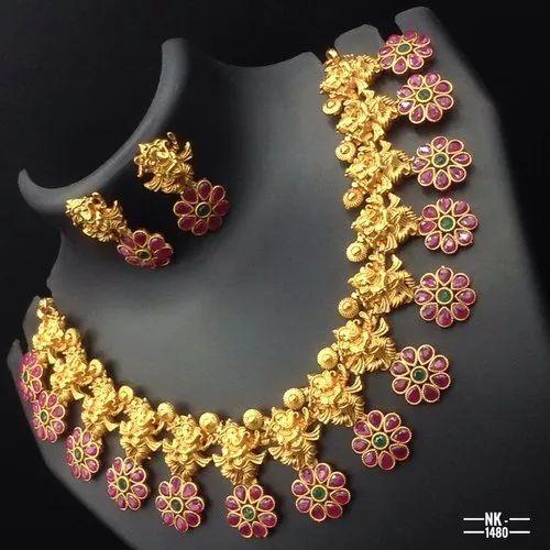 82f40dbb6728b Matte Finish Temple Jewellery Set Nk 1480
