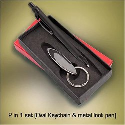 Oval Keychain & Metal Pen