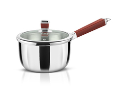 Avonware Whole Body Clad Stainless Steel 2.3 Liters Triply Sauce Pan With Glass Lid - 18cm