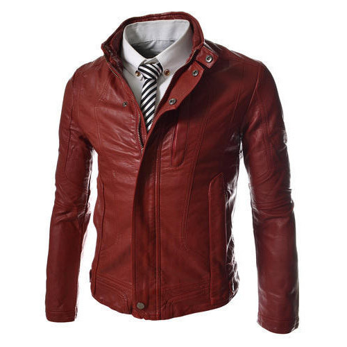 Large And Xl Pure Leather Mens Cherry Red Leather Jacket Id
