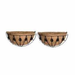 Coir Garden 12 Inch Coir Hanging Basket leaf Design