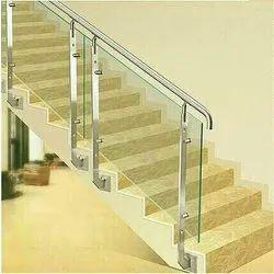 Ss, Glass Toughened Glass SS Glass Railing, Material Grade: SS304, SS316
