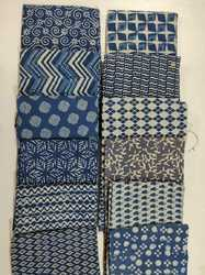 Vandana Handicraft Party Wear Hand Block Printed Indigo Cotton Fabric
