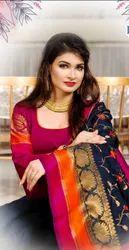 thread work Formal Wear banaras silk saree, 6.3 m (with blouse piece)