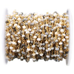 Dendrite Opal Gemstone Rosary Beaded Chain