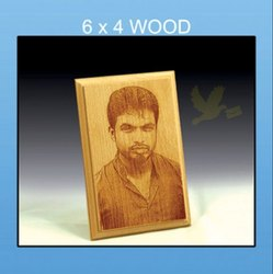 Brown Wood Engraved Photo Frame, Shape: Rectangular, Size: 6x4 Inches
