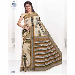 Original Always Cotton 1124 ladies printed saree, With Blouse Piece