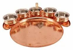 Copper Hammered Maharaja Style Full Moon Dinner Set, Size: 2.3