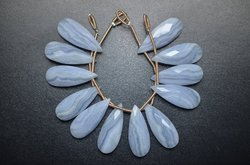 3 Pair 10x25mm Natural Blue Lace Agate Microfaceted Long Pear Drop Briolette Beads