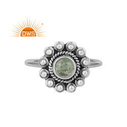 Natural Green Colour Tourmaline Antique Oxidized Silver Ring Jewelry