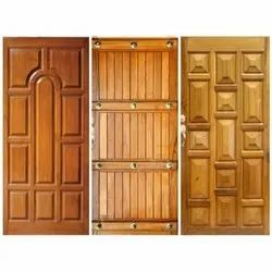Plain Exterior Teak Wooden Door