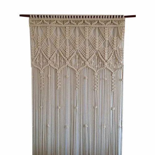 White Plain Macrame Curtain
