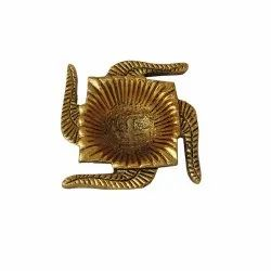 Brass Swastik Shaped Diya Holder