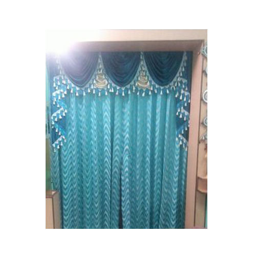Genial Blue Cotton Door Curtain