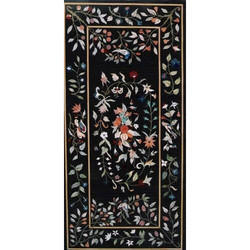 Black Floral Stone Inlay Marble Table Tops, Shape: Rectangular