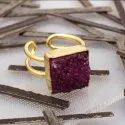 Pink Sugar Druzy Gemstone Rings Gold Plated Stone Jewelry