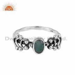 Emerald Gemstone Handmade 925 Silver Womens Rings
