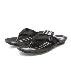Mens Black Stripped Casual PU Slippers
