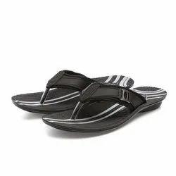 Mens Black Stripped Casual PU Slippers