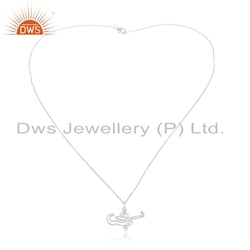 Lamp Shape 925 Sterling Fine Silver Chain Pendant Jewelry Manufacture