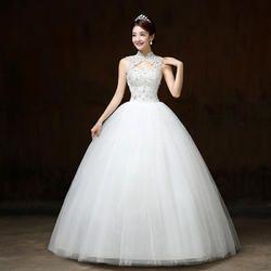 White Halter Neck Christian Wedding Dress