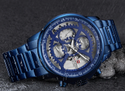 Blue Nf9150 Naviforce Luxury Chronograph Hollow Steel Watch, For Personal Use