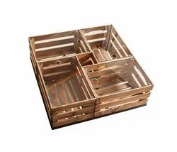 Fruits And Vegetables Rectangular Wooden Storage Crate