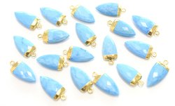 Turquoise Gold Electroplated Shark Tooth Shape Pendant