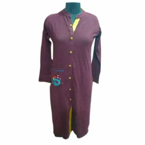 Embroidered Acrylic Daffodil Yarn Ladies Front Slit Casual Kurti, Handwash, Size: M-3xl
