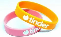 Tinder Unisex Silicone Wristbands Engraved, Size: 15 mm, Packaging Type: Packet