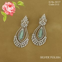 Cubic Zirconia Rodium Polish Earrings