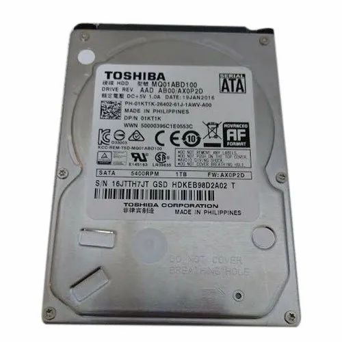 Plastic Toshiba 1TB Internal Hard Drive, Memory Size: 1 Tb, Model Name/Number: Mq01abd100