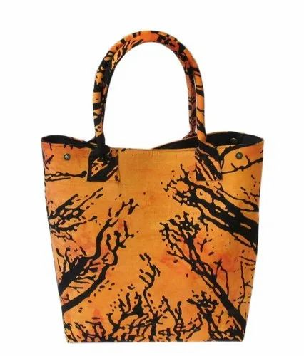 Orange Tie Dye Printed Cotton Handbag for Women