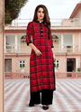 Red Stitched Latest Designs Chex Designs Kurti With Plain Palazzo Collection, Adult