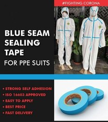 50 Meters Single Sided Blue Seam Sealing Tapes For PPE Suits, Size: 1 inch