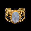 Gold Plated Women Handmade Gemstone Cuff Bracelet