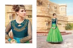 Parrot & Dark Green Banglori Silk Embroidered Gown