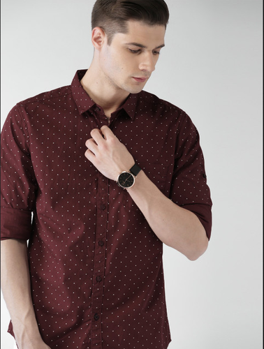 laest technology quality how to find Highlander Men Maroon Slim Fit Printed Casual Shirt