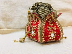 Lotus Kundan Handwork Hard Base Potlis Bag