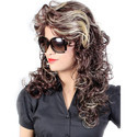 24 Inch Brown Blond Mix Human Curly Hair Wig