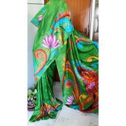 03c3260571 Bishnupur Silk Green Hand Painted Saree, Size: 6.25 M, Rs 8865 ...