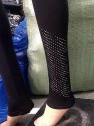Black Straight Fit Diamond Leggings, Size: Free