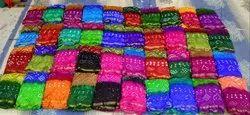 JILANI TEXTILE CASUAL WEAR Pure Silk Bandhani Saree, 6.3 m (with blouse piece), Hand Made