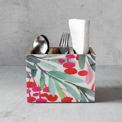 Hand Painted Wooden Cutlery Holder